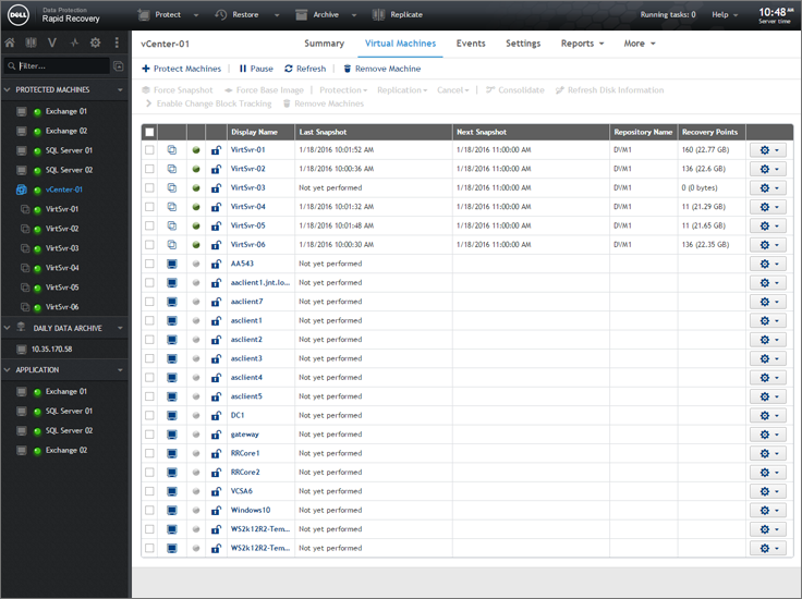 GUI allows users to filter machines for quicker management
