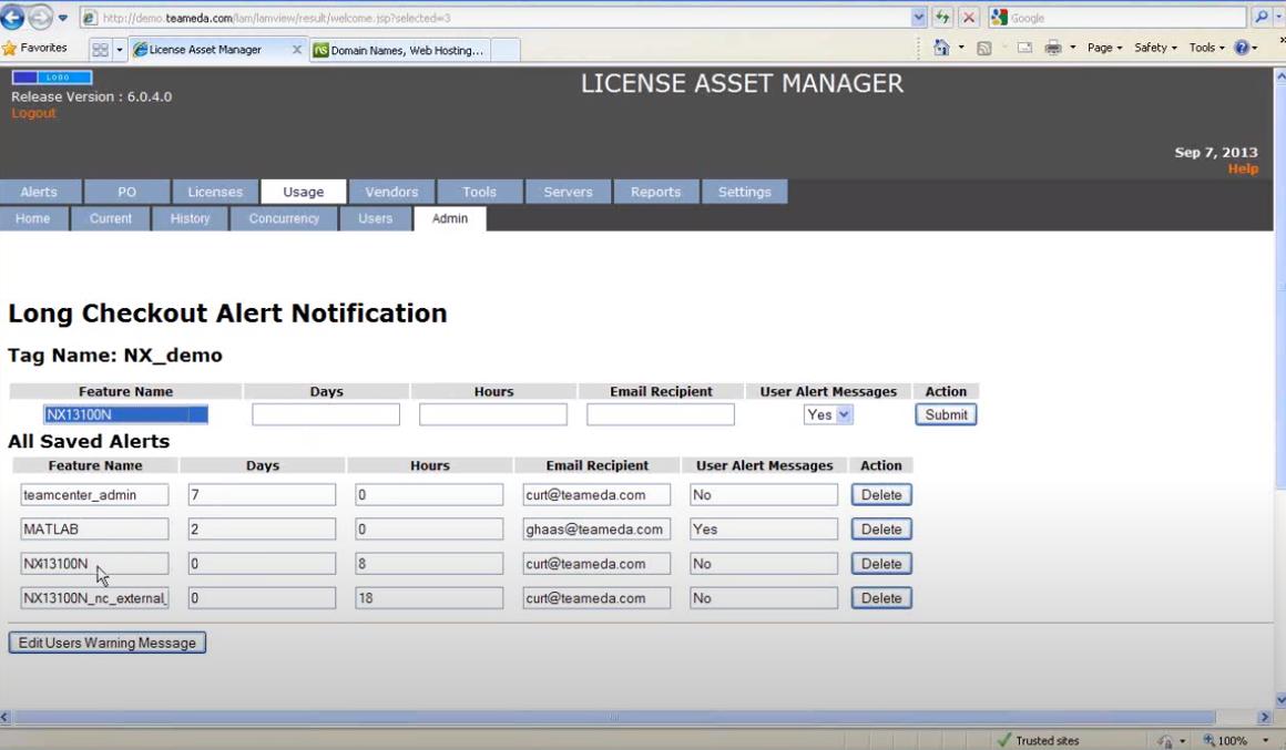 License Asset Manager threshold alerts