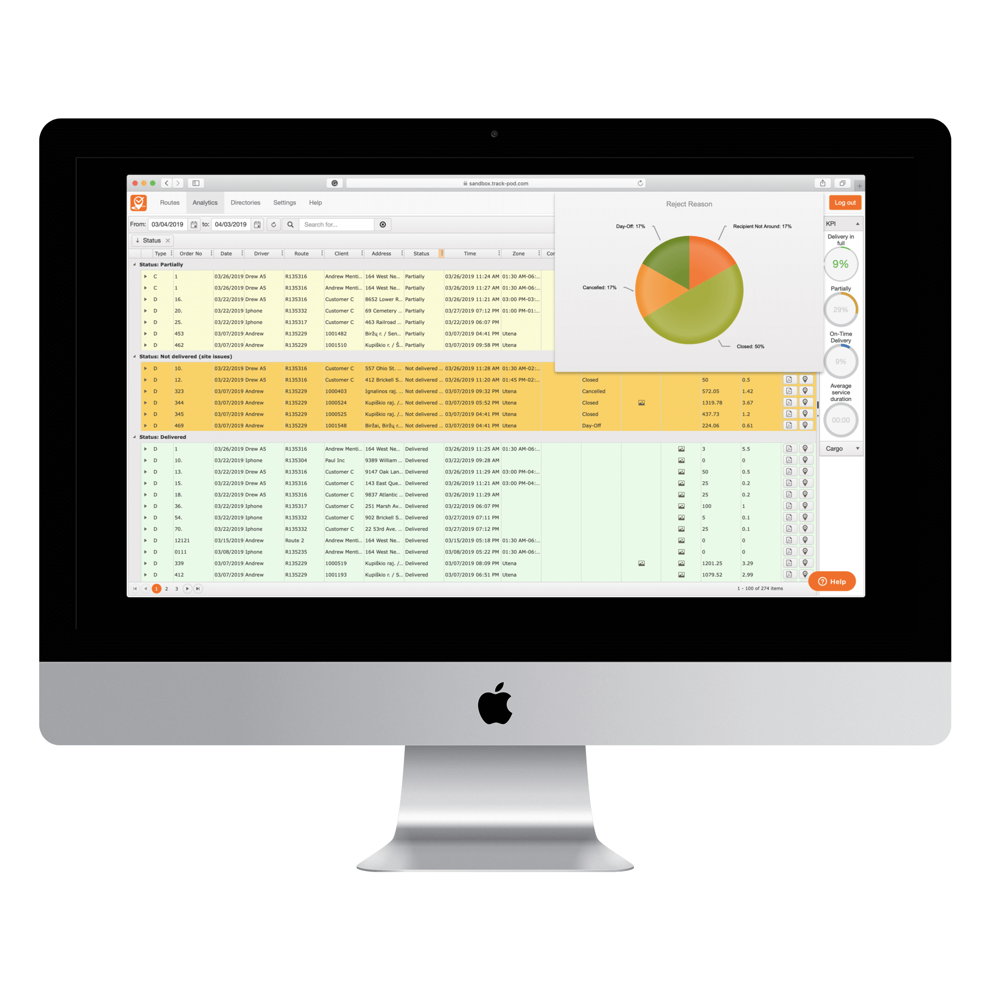 Delivery management analytics - Track-POD reports per KPI