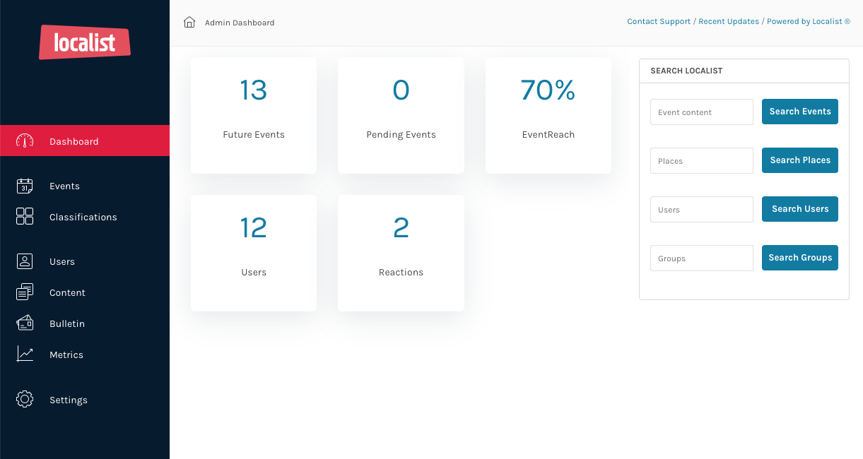 Localist Software - Manage all your events from an easy-to-use Admin Dashboard.