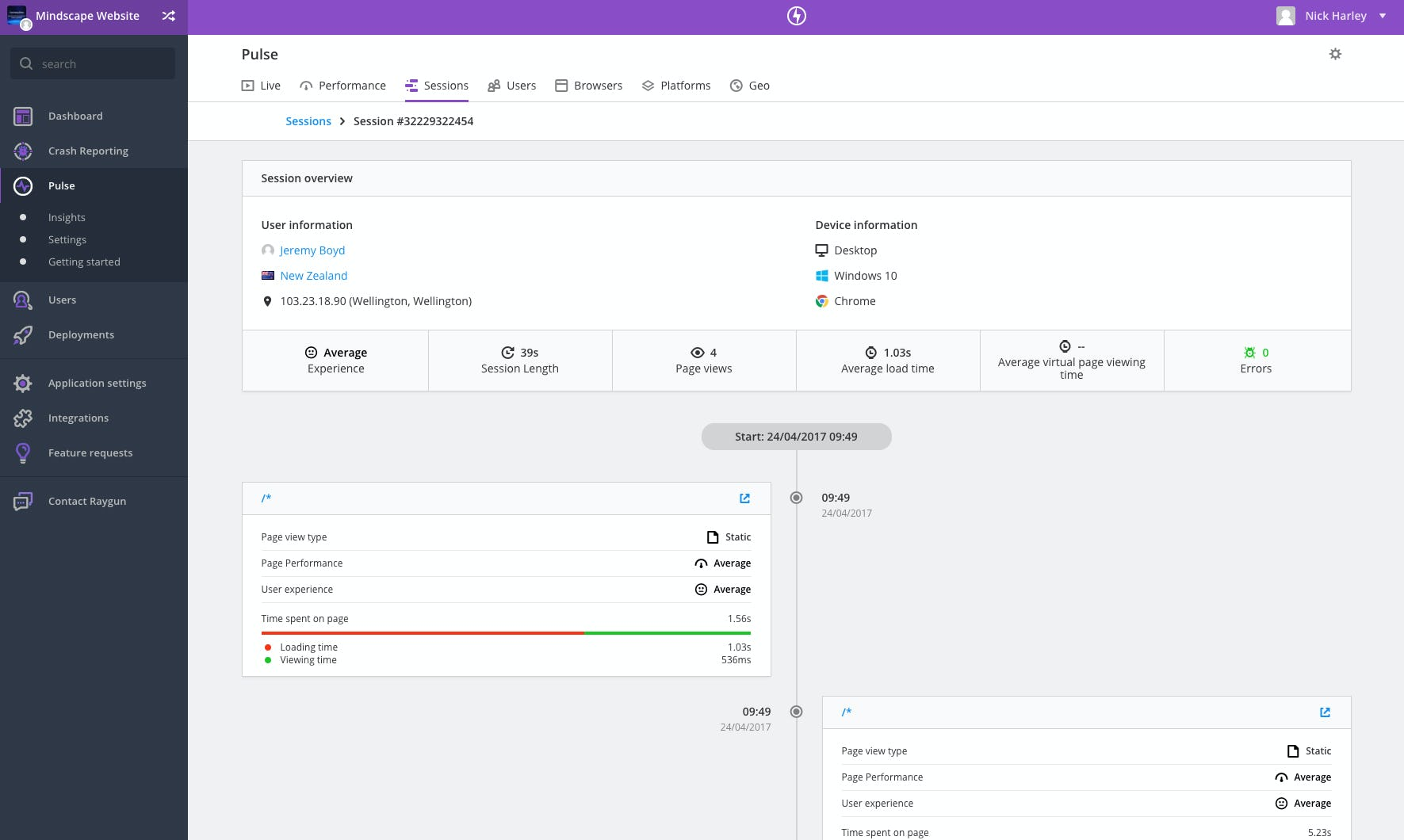 Raygun Software - Raygun load time dashboard
