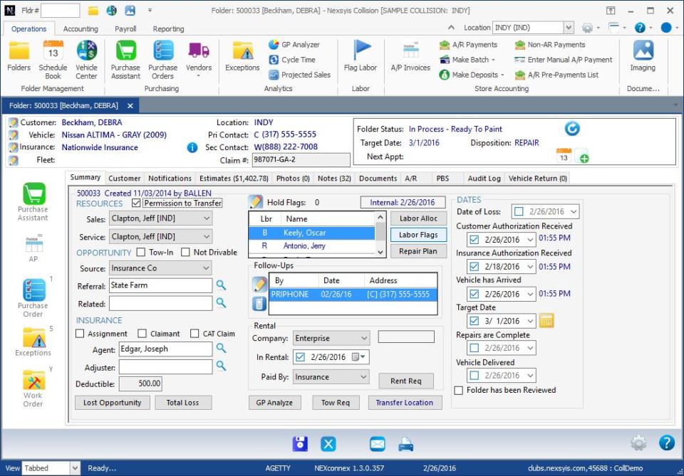 Nexsyis Collision screenshot: Nexsyis Collision customer profile