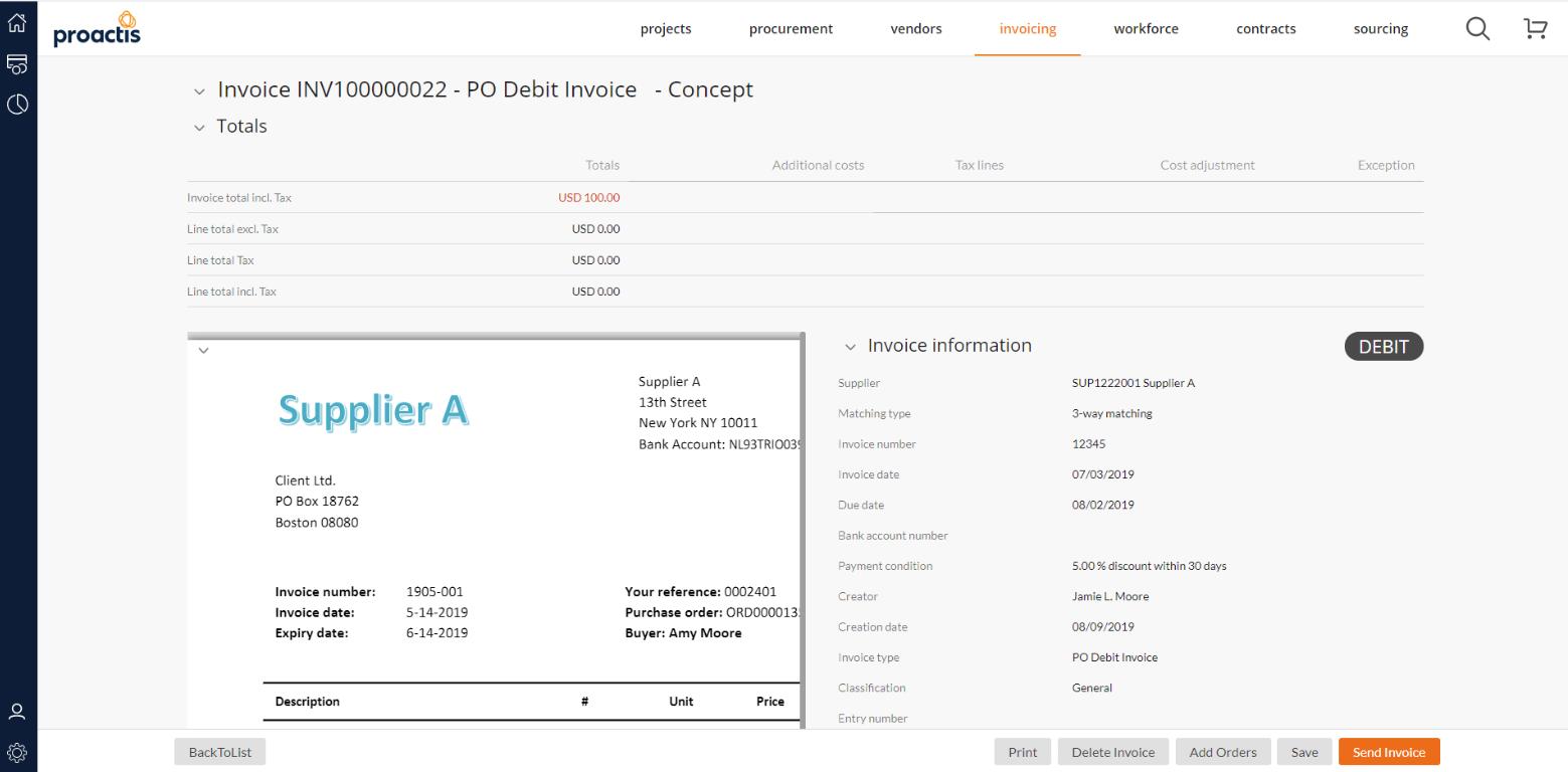 Proactis invoice management