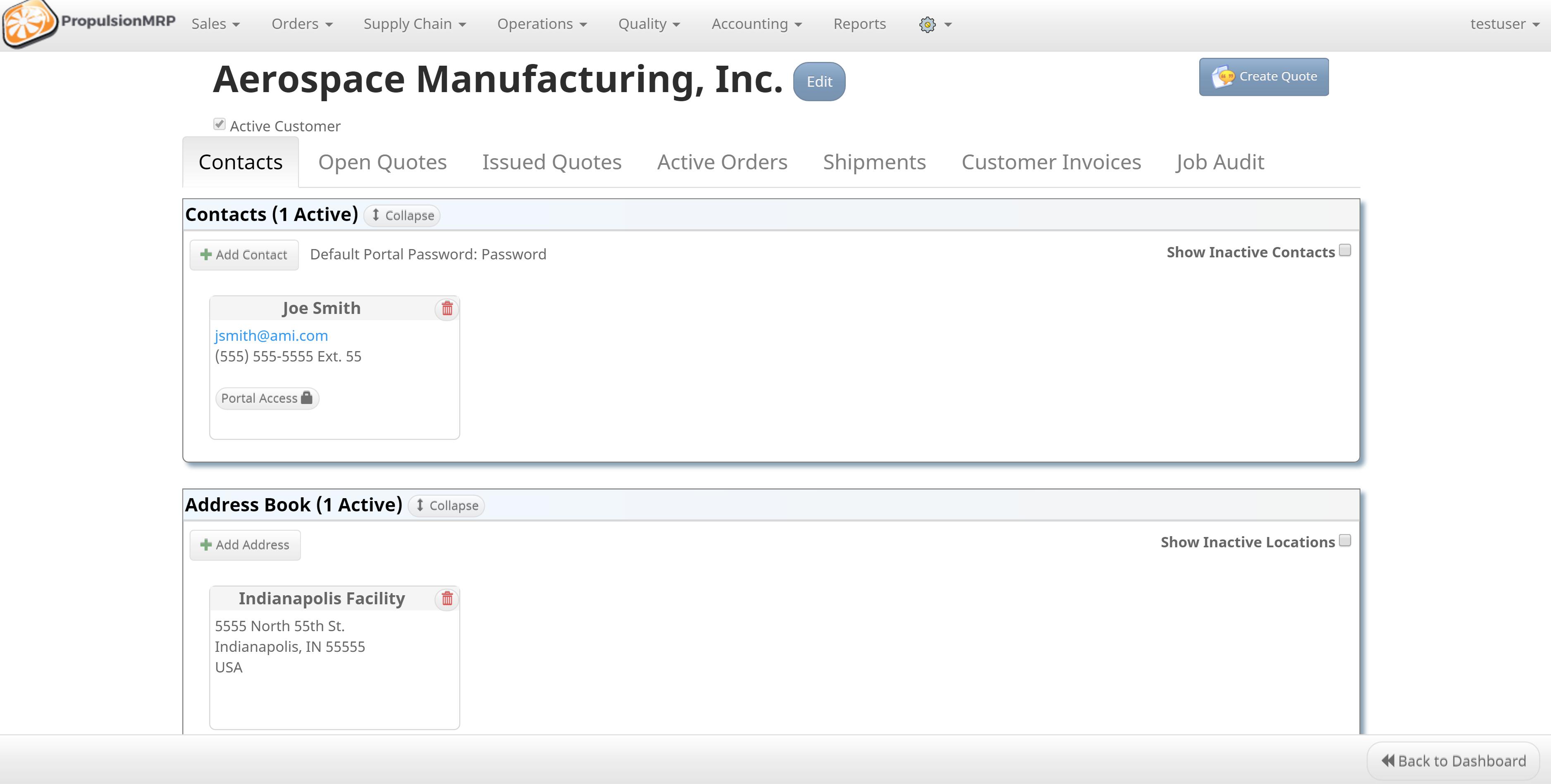 PropulsionMRP Software - Manage customers