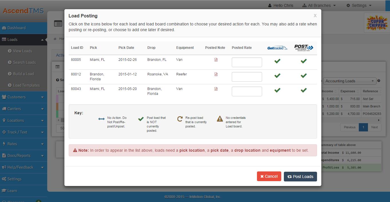 AscendTMS Logistics Software Software - Load posting