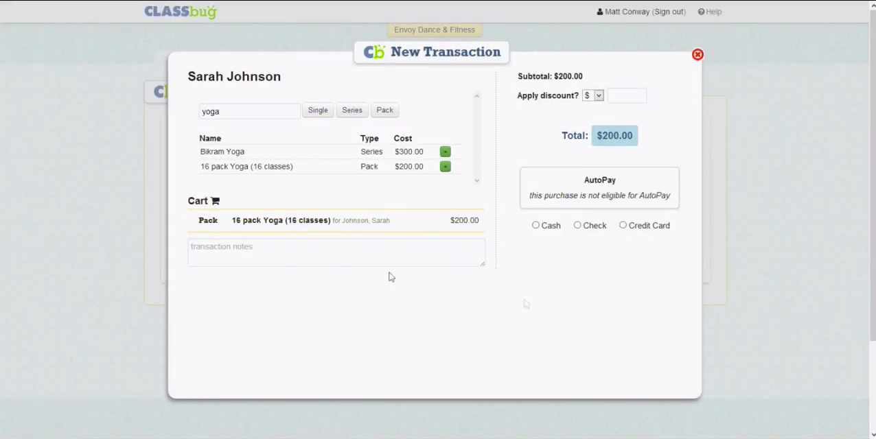 ClassBug users can add classes to customer 'shopping carts' with a single click and process credit card transactions.