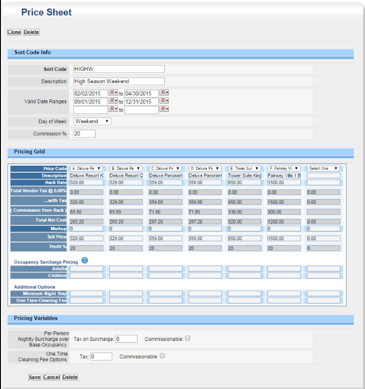 Price sheets