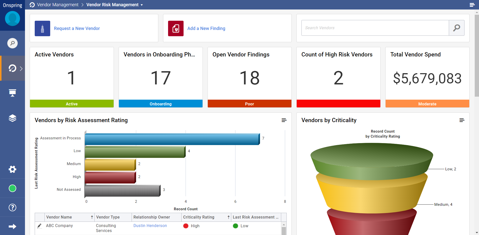Manage full vendor lifecycle with procurement. Conduct standardized vendor onboarding process. Issue customized vendor risk assessments. Monitor vendor findings and mitigation plans. Identify duplicate vendors or repeat vendor uses across the enterprise.