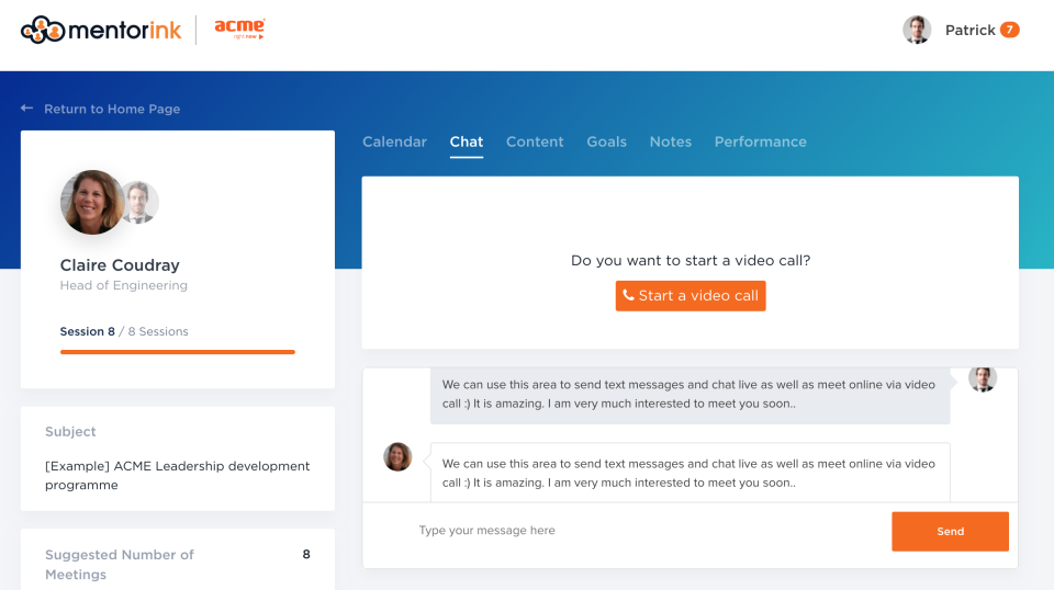 Mentorink Software - Pair page - Video call
