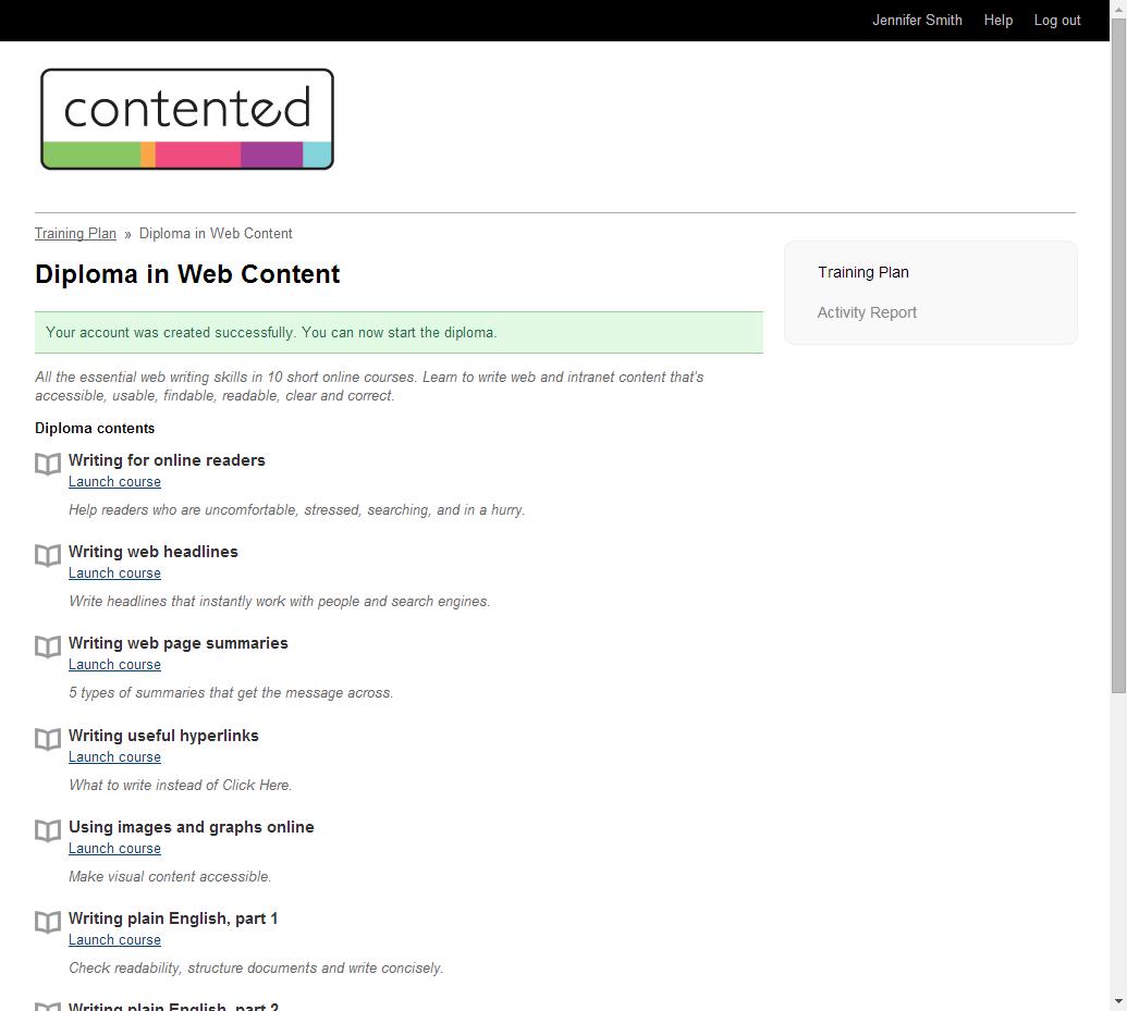 Simple interface for course participants.
