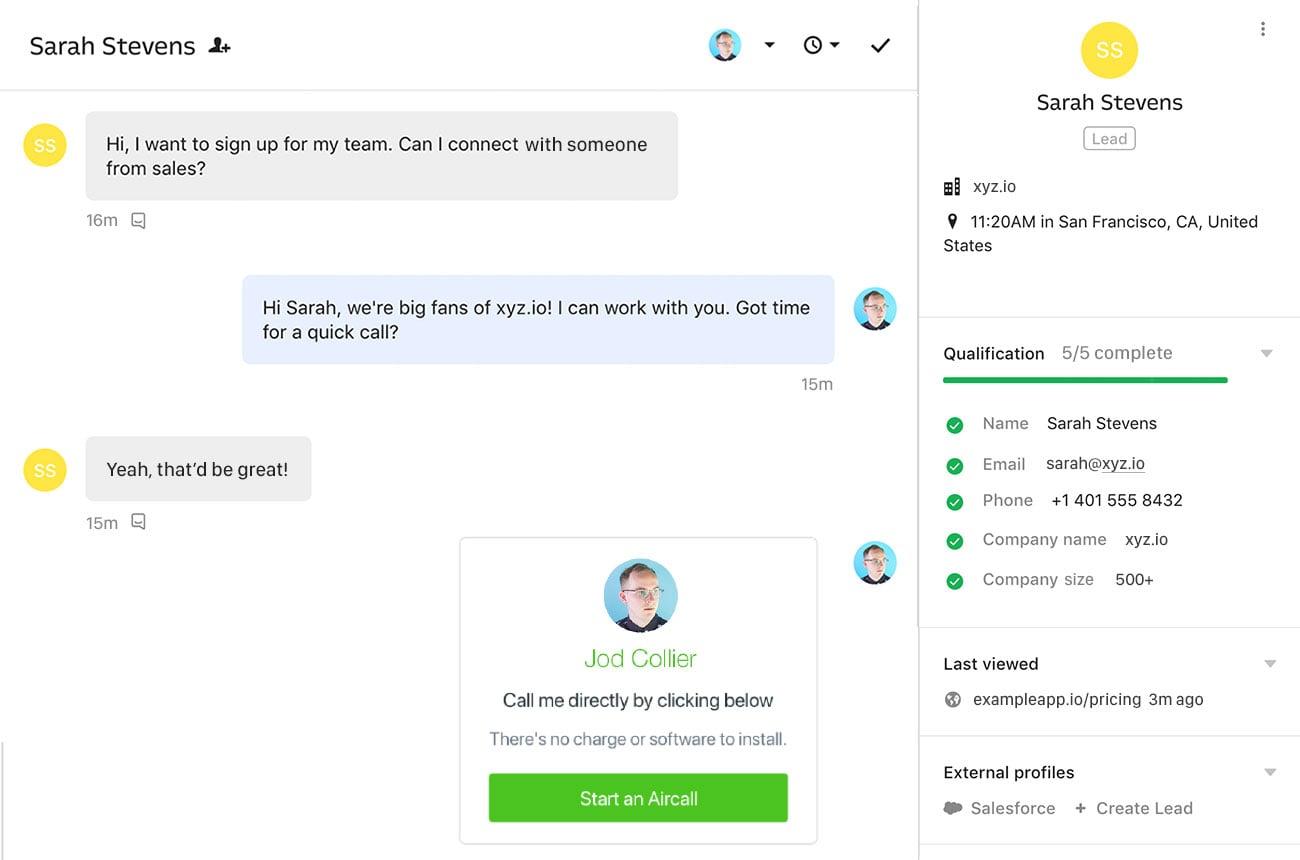 Intercom convert leads screenshot