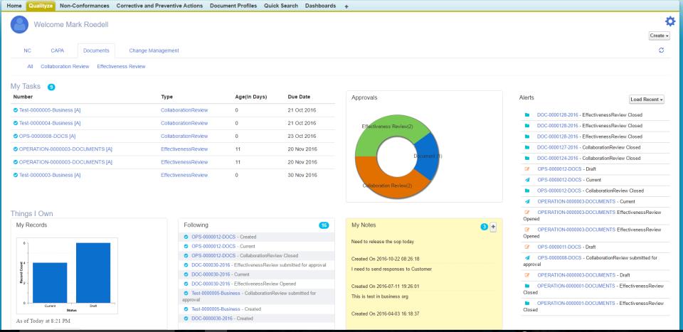 Built on the Salesforce Cloud platform, Qualityze centralizes quality management capabilities via a dashboard-based login