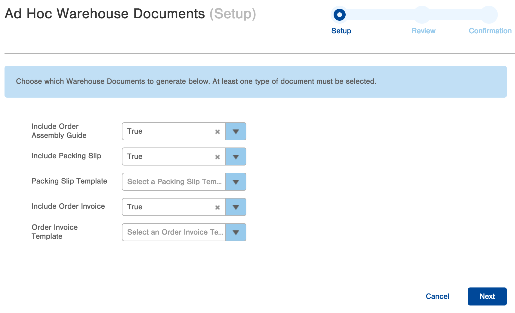 Warehouse documents can be generated from templates and printed automatically