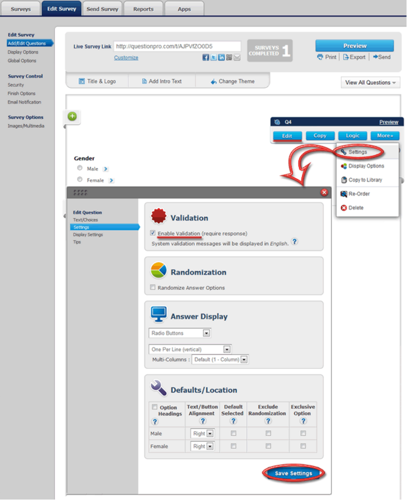 Enter questions in a survey and set validation rules for respondents with QuestionPro