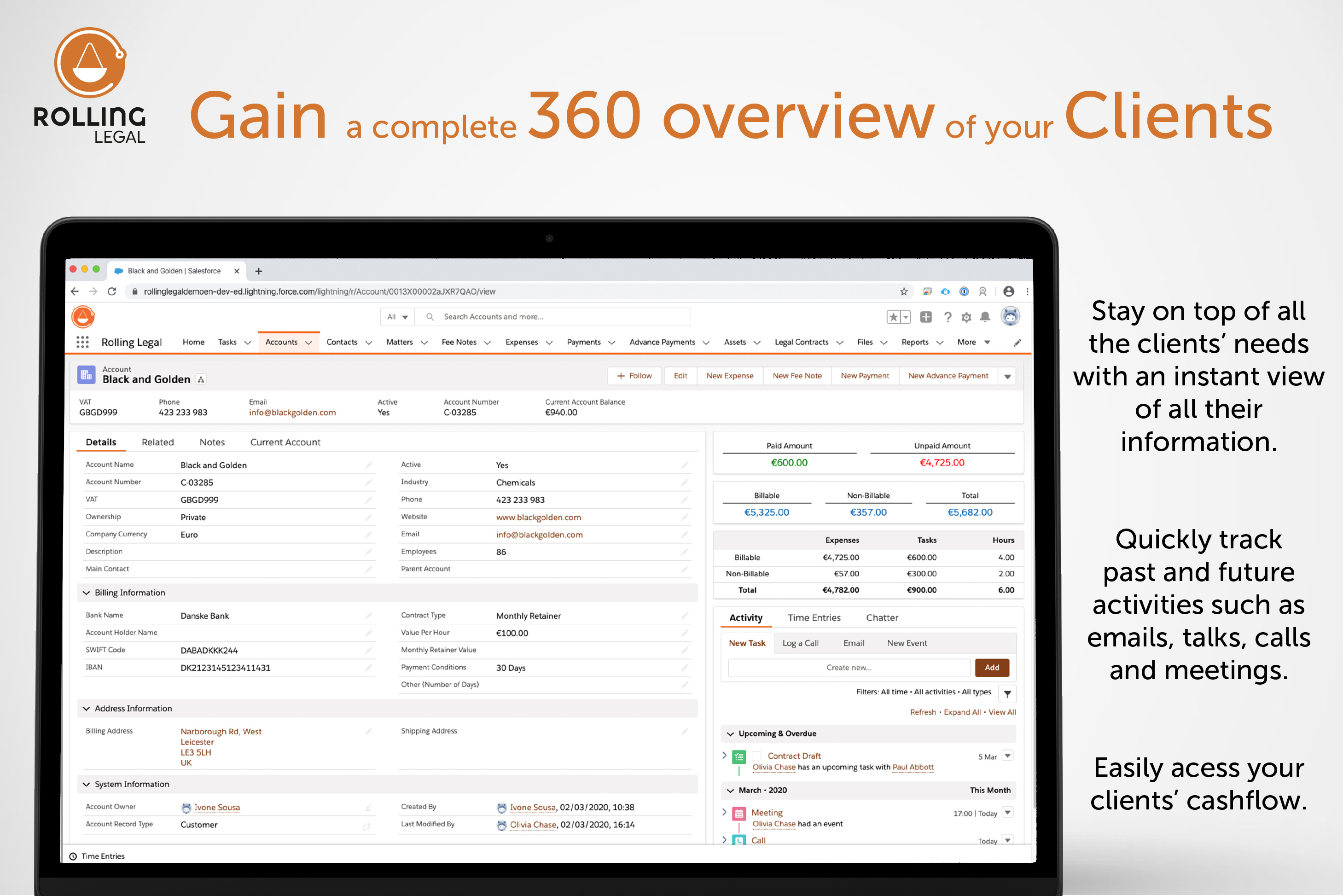 Rolling Legal: Gain a complete 360 overview of your Clients!