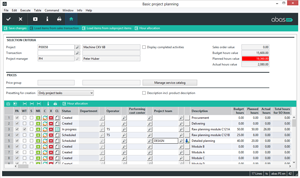 abas ERP Software - Project Planning Screen