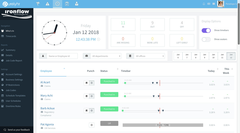 PurelyHR Software - Time-Clock module