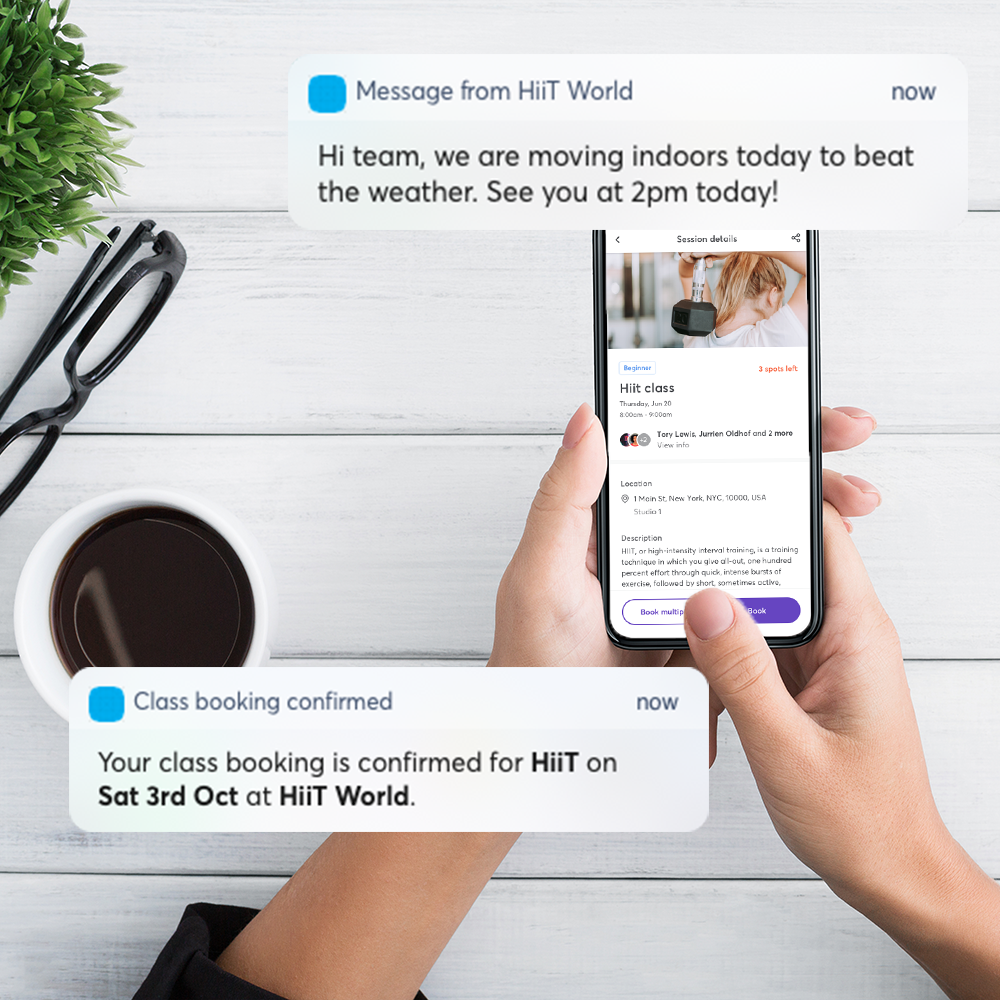 Automated push notifications, SMS and email to your members.