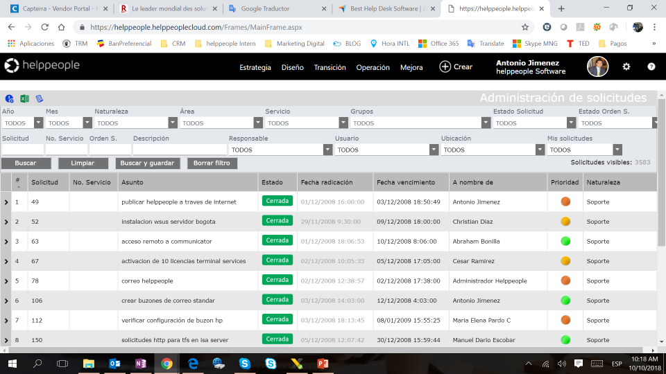 helppeople Cloud ticket management screenshot