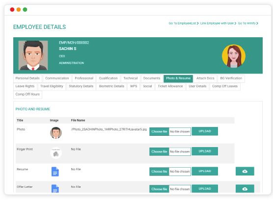 Access employee details such as contact info, qualifications, resume, and more
