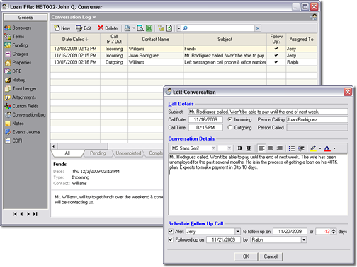 The Mortgage Office Software - Conversation log