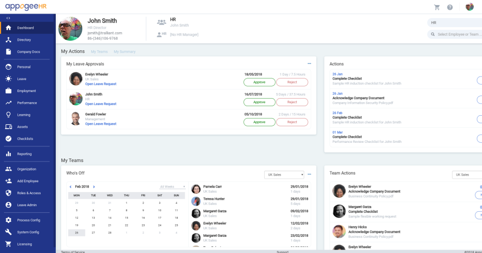 Appogee HR screenshot: Managers can view their team's leave requests, actions, and to-do list from the dashboard