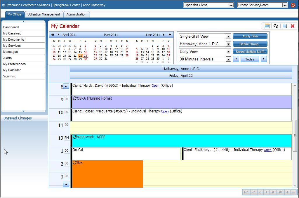Clinician calendar