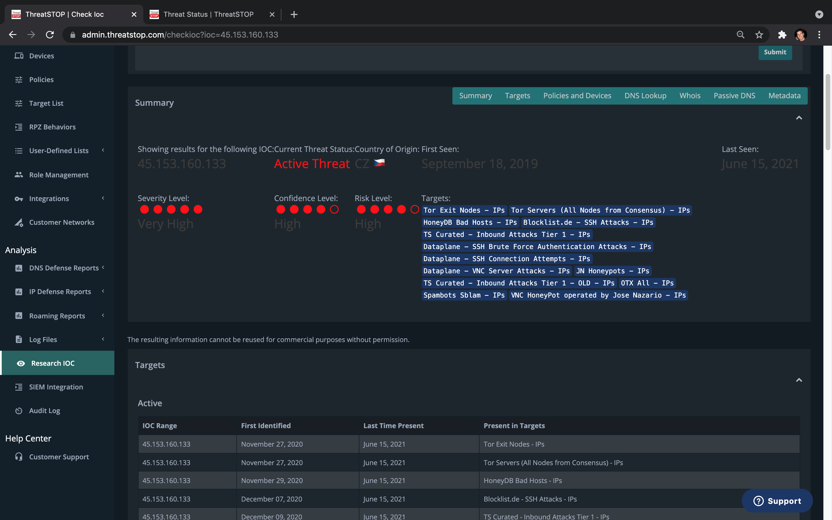Includes CheckIOC, a powerful security research tool that knows whether any IP or domain is malicious.