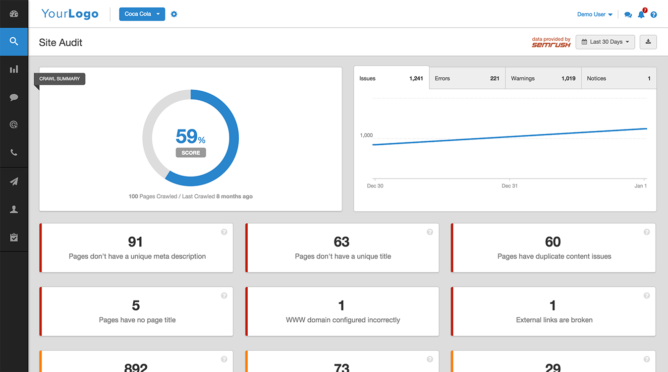 The site audit tool in Agency Analytics automatically flags 44 common SEO issues on clients' websites