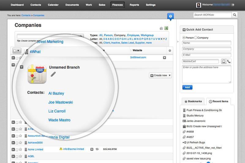 WORKetc screenshot: Unlimited Contacts & Relationships