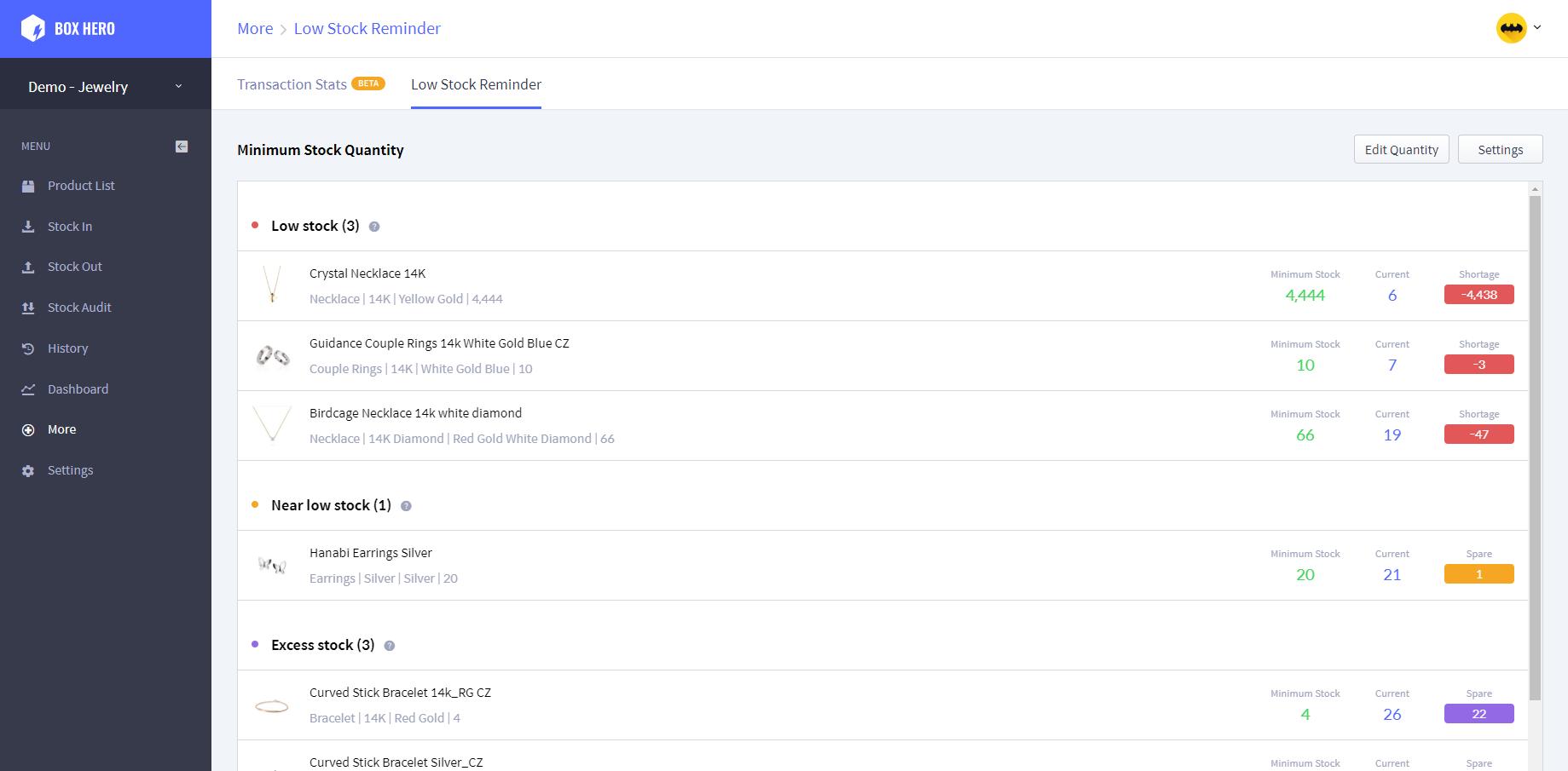 BoxHero low reminder screenshot
