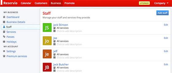 Manage staff, the services they provide, and set their Reservio access levels