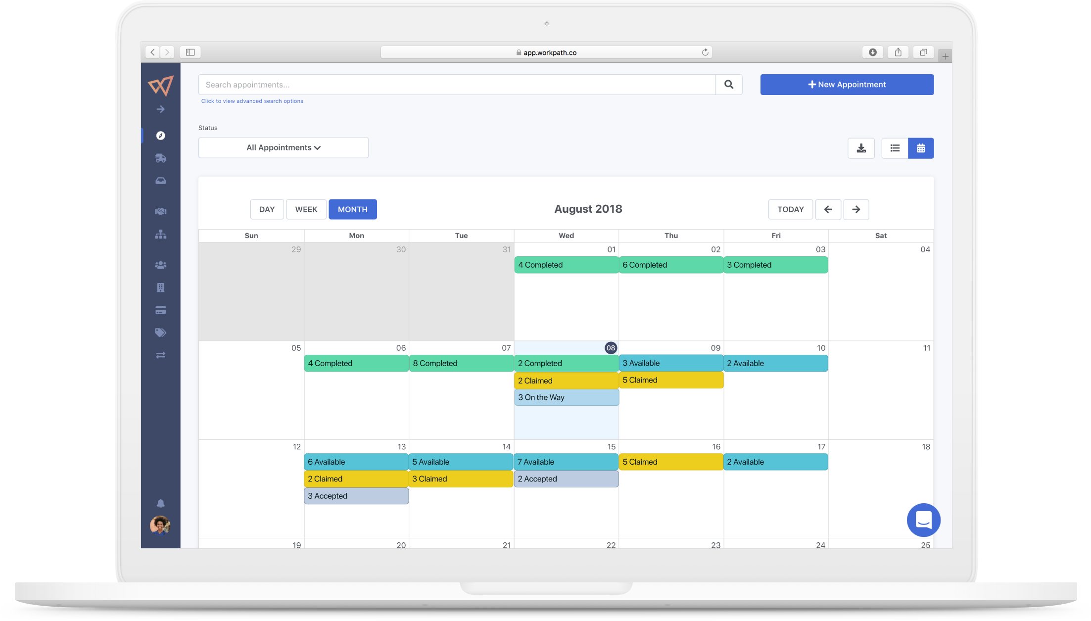 The calendar view within Workpath's appointments screen shows scheduled daily, weekly and monthly appointments with color coded status indicators