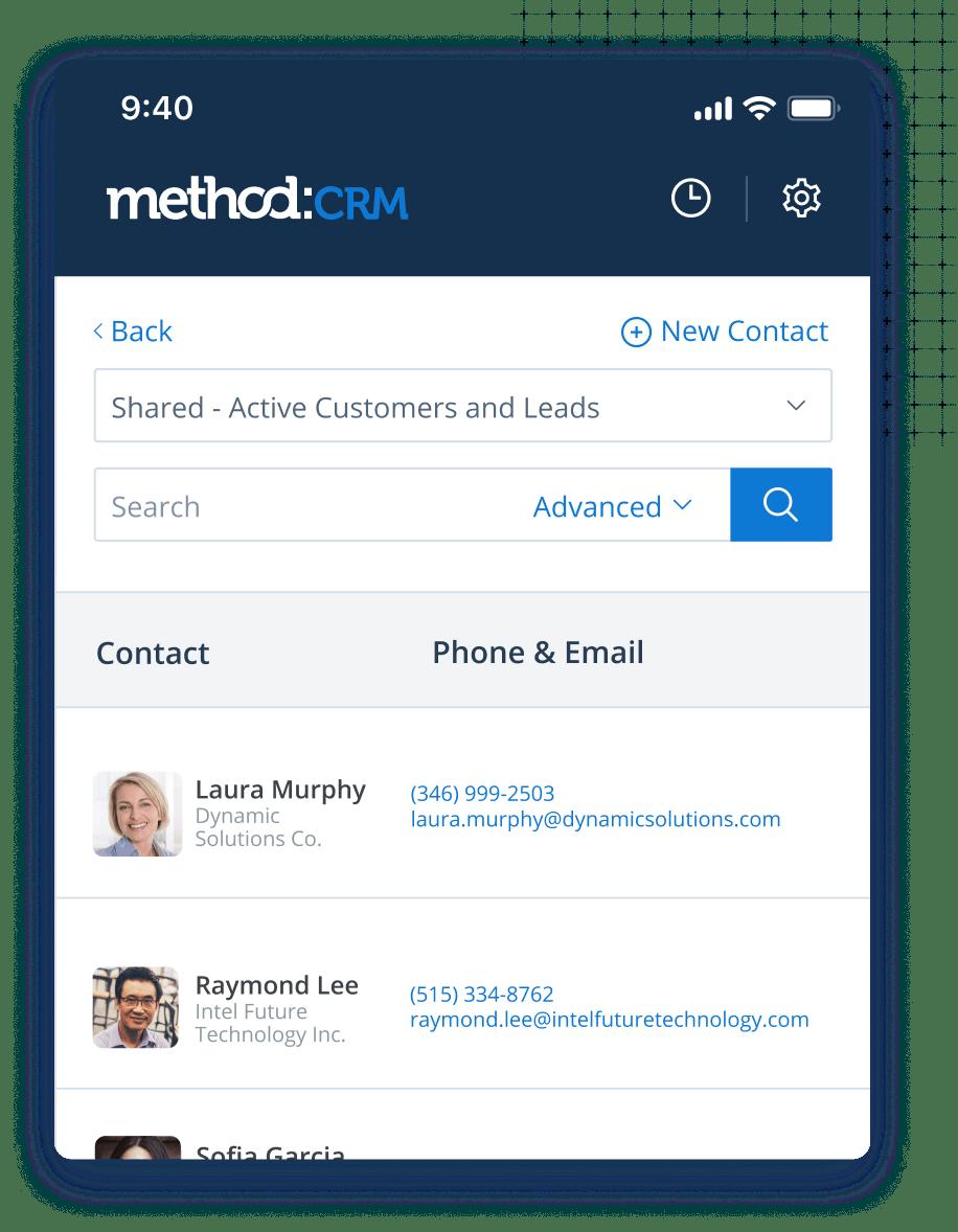 Method CRM Software - Method:CRM mobile app interface