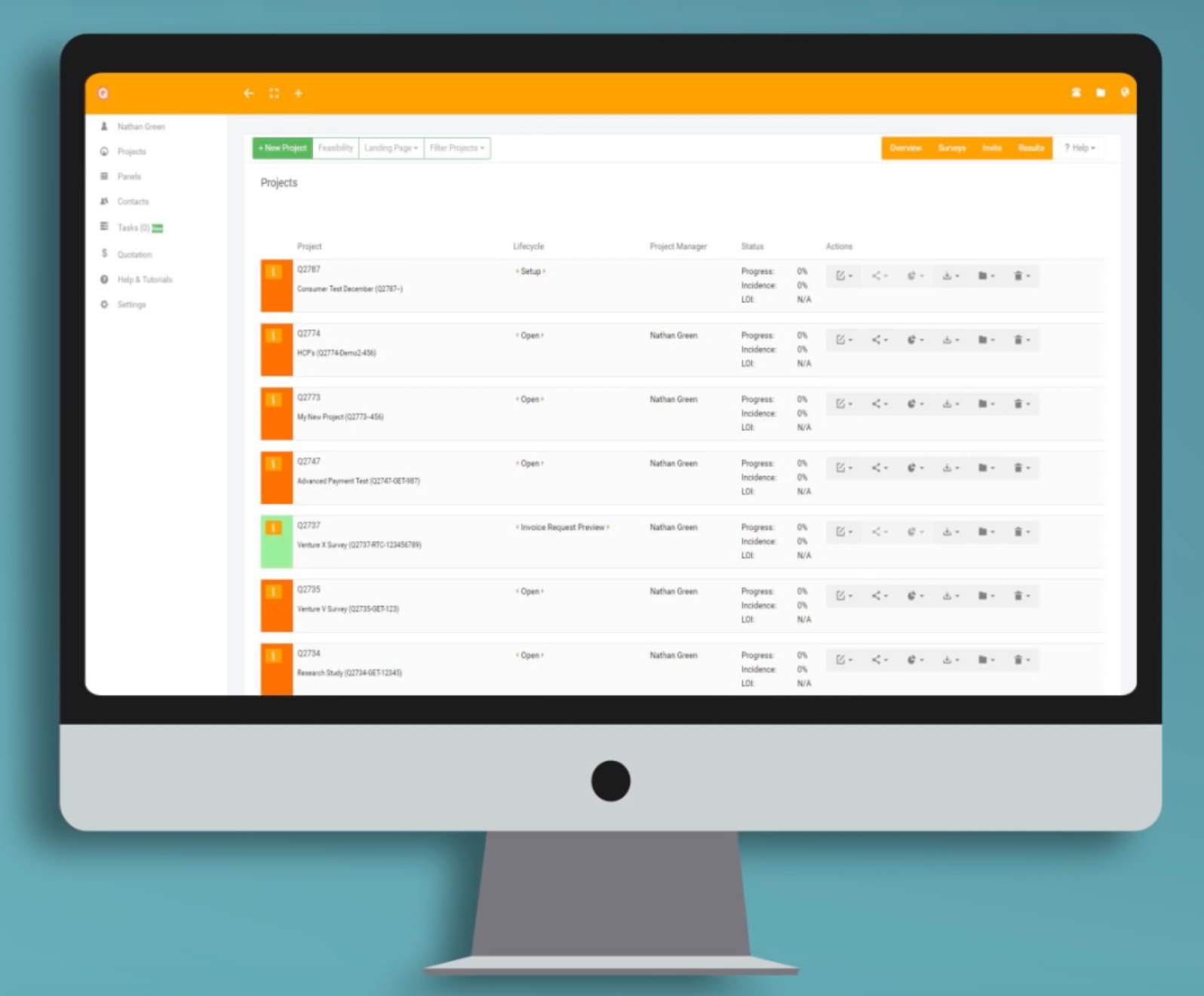 The project overview screen displays all projects in their various lifecycle stages