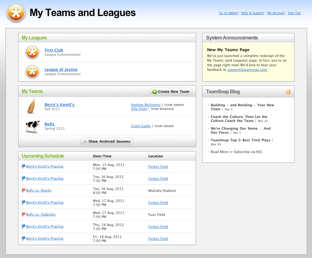 TeamSnap enables users to view all of their teams in one place