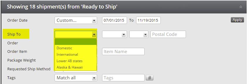 Select shipment location