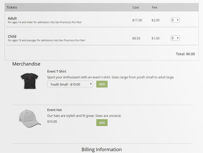 Users can sell merchandise alongside their event tickets with TicketSpice