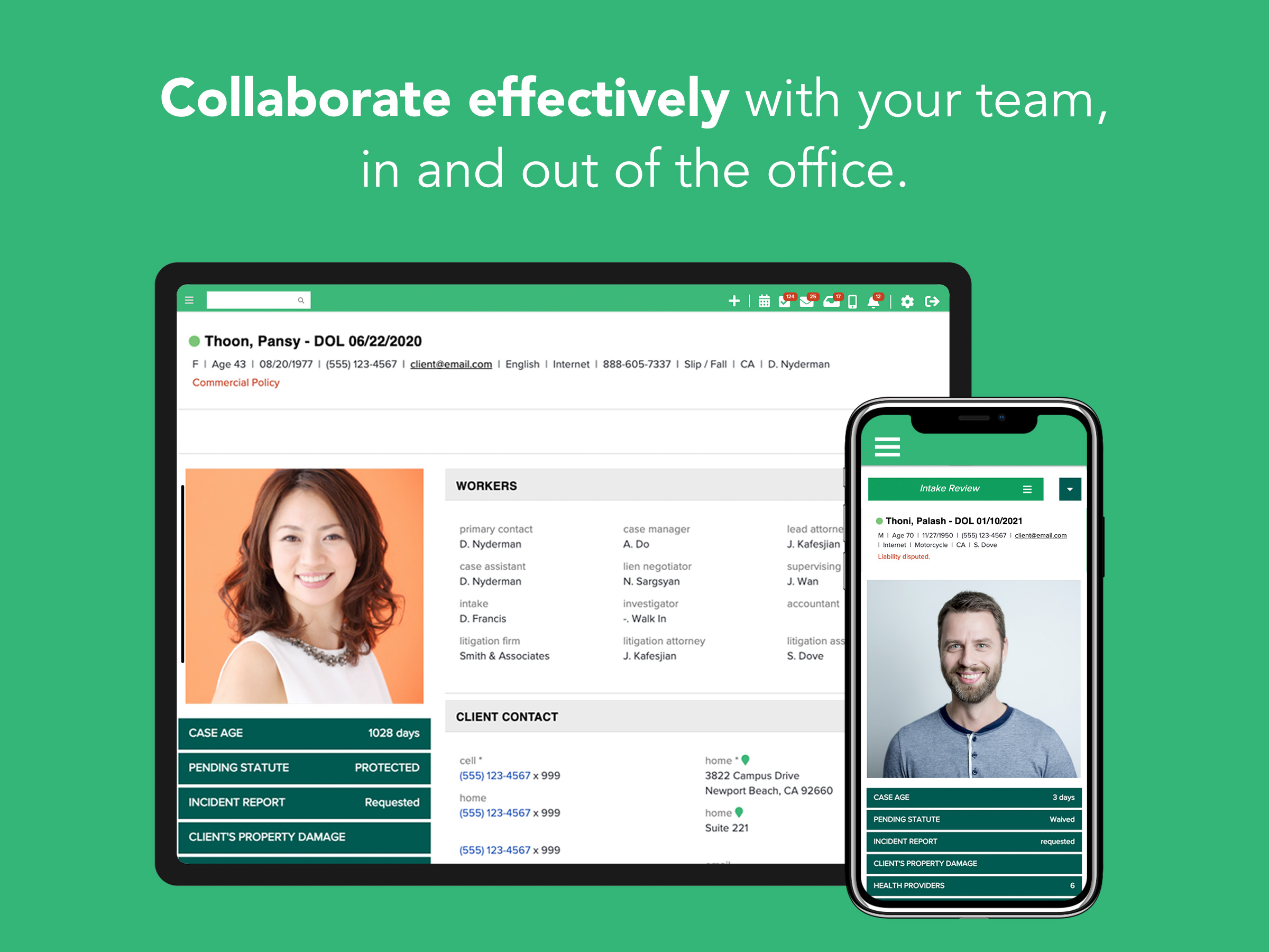 CASEpeer empowers personal injury law firms to collaborate effectively, in and out of the office. Our accountability tools and activity tracking give you confidence your clients are receiving the best possible care.