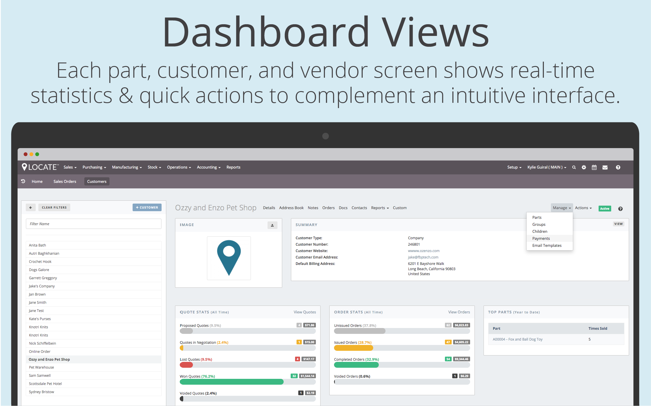 View customer information, quote stats, order stats and top parts at-a-glance