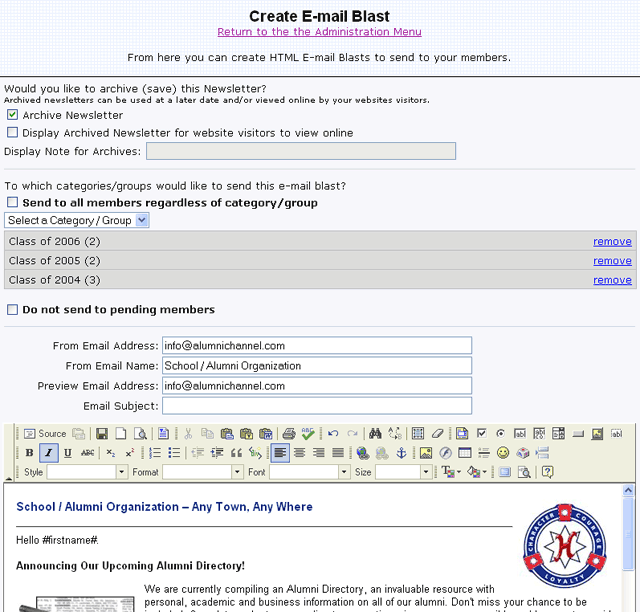 Alumni Channel screenshot: Create email blasts