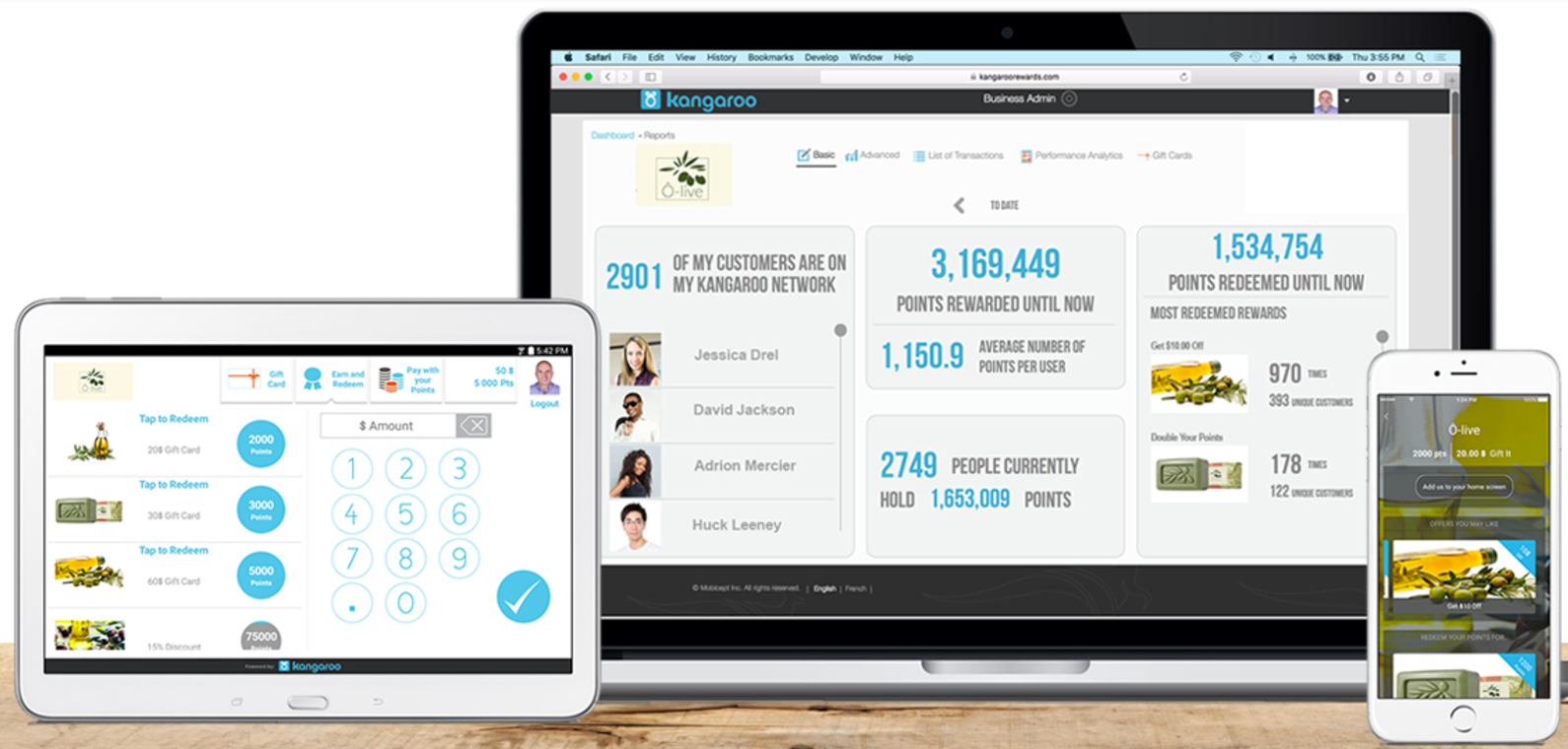 Kangaroo screenshot: Access the dashboard and control loyalty programs from any device