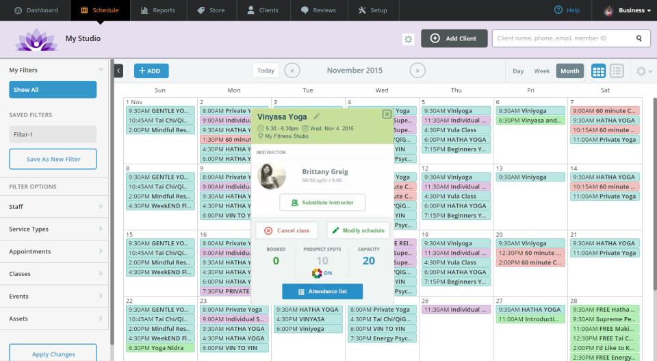 WellnessLiving Software - Class scheduling