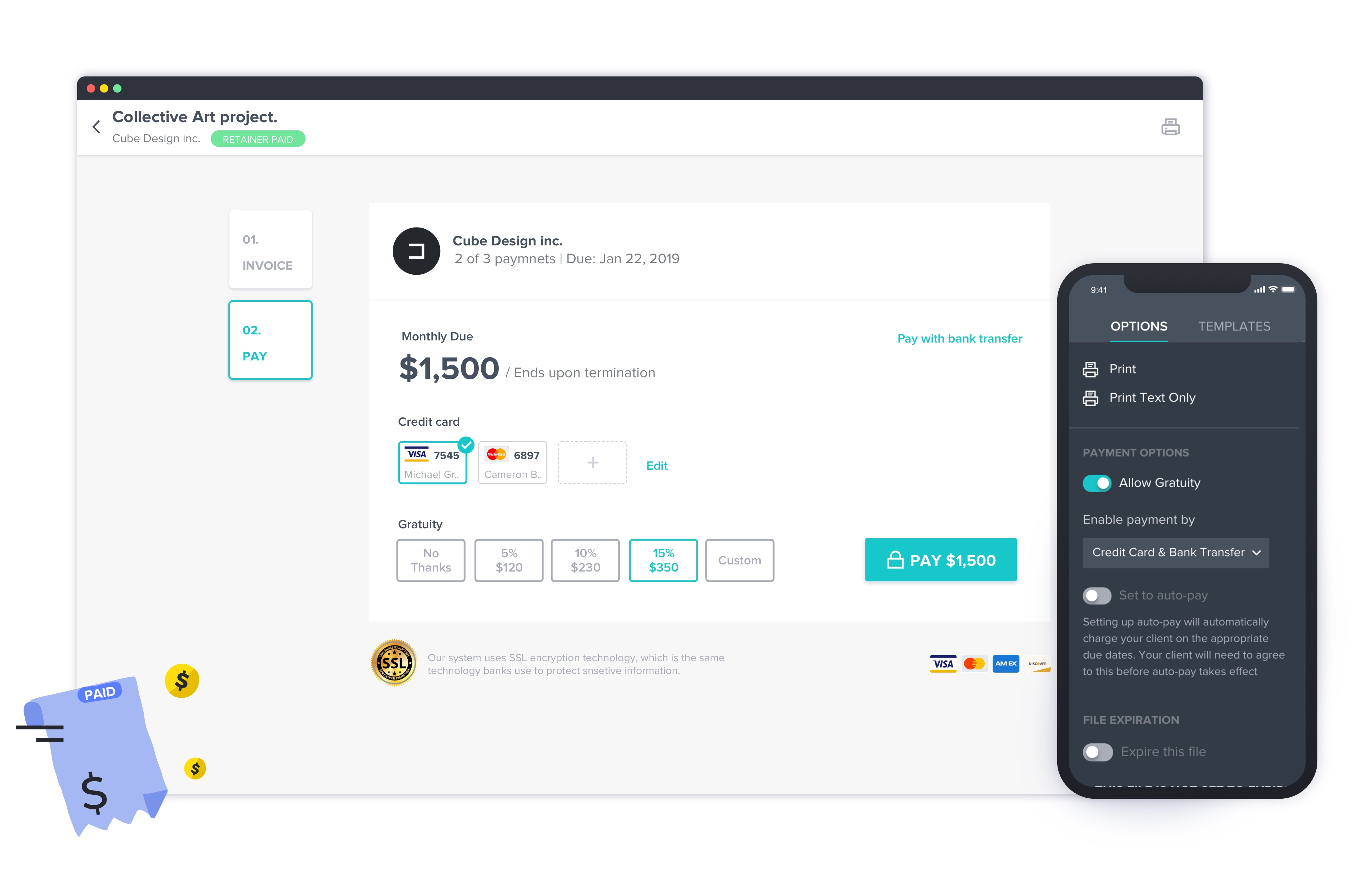 HoneyBook payment page