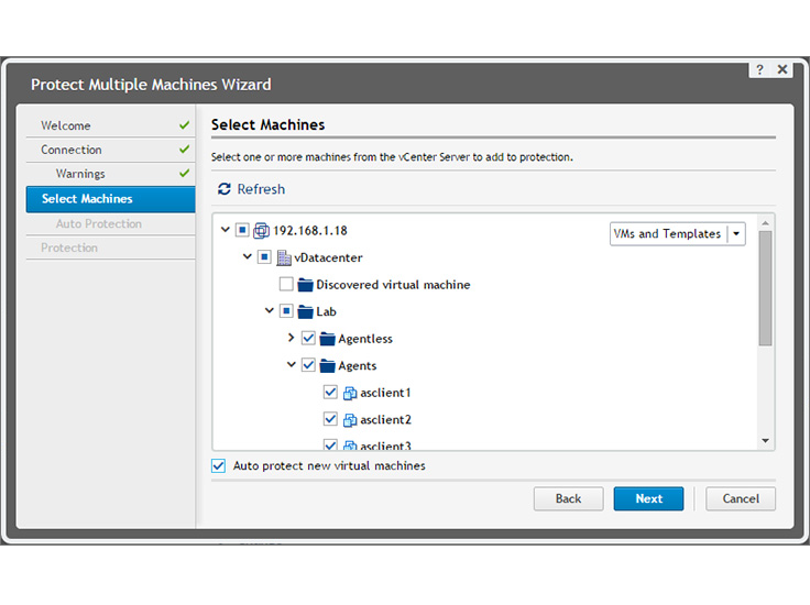 Protect multiple machines with the inbuilt protection wizard