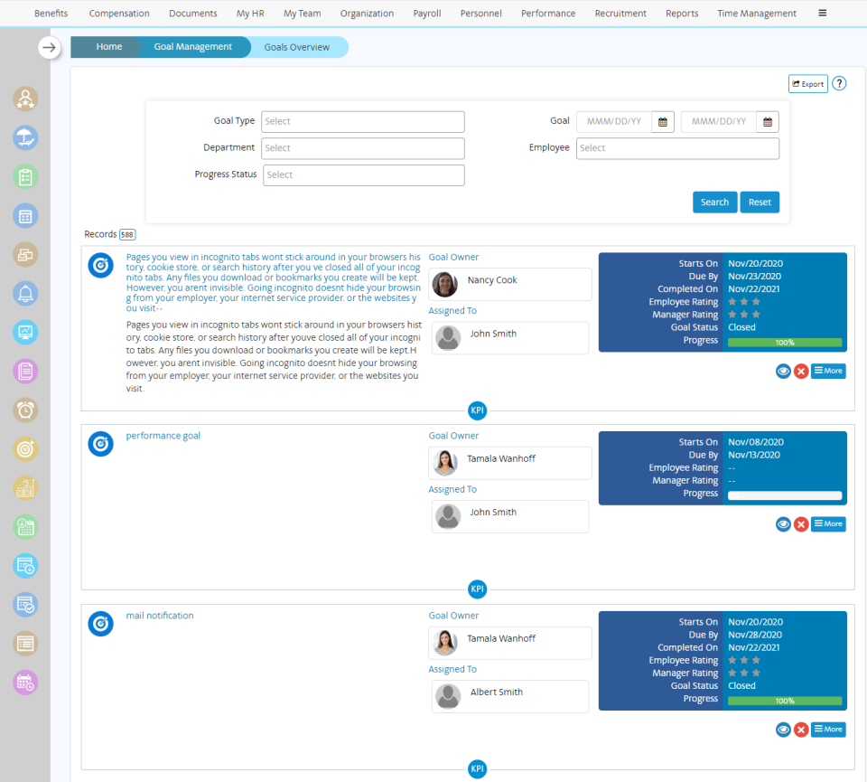 SutiHR Software - Goal Tracking