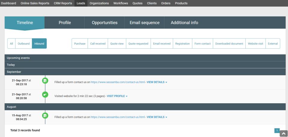 SeoToaster CRM Software - Lead intelligence