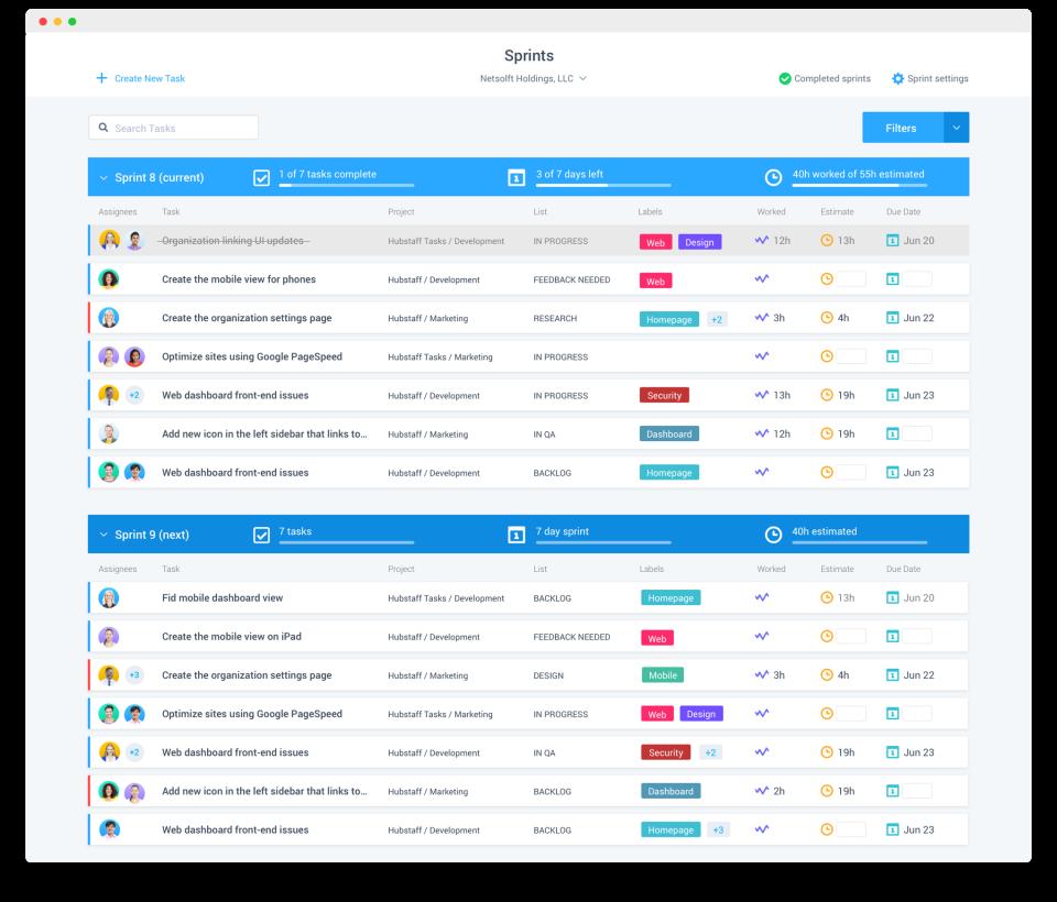 Hubstaff Tasks Software - Sprints