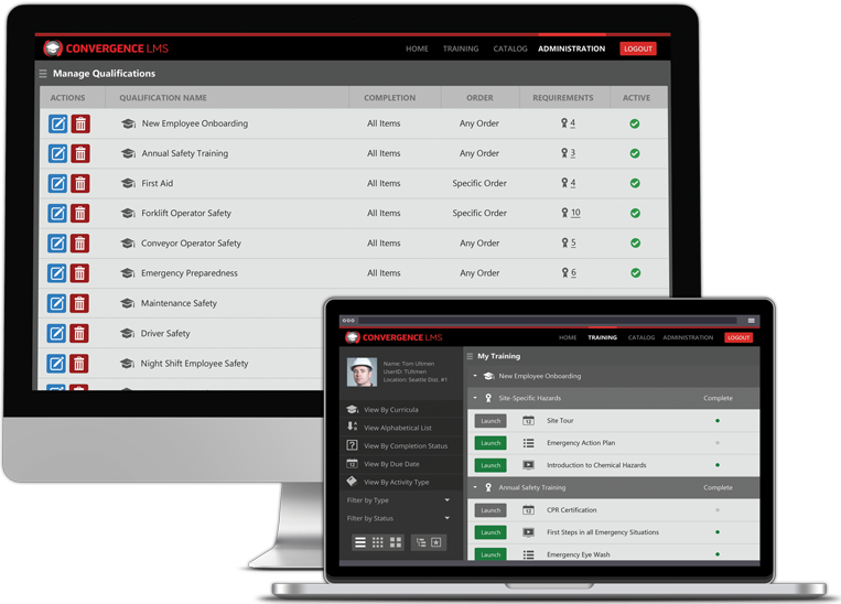 Convergence LMS screenshot: Deliver training for industrial and manufacturing facilities