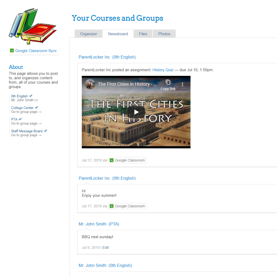 Learning management, with Zoom and Google Classroom Integration
